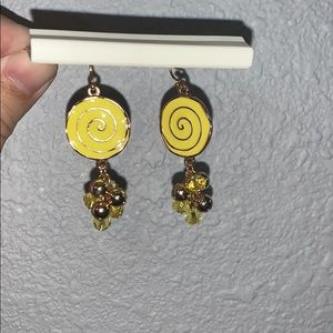 Yellow and Gold Dangly Nickle Free Earrings